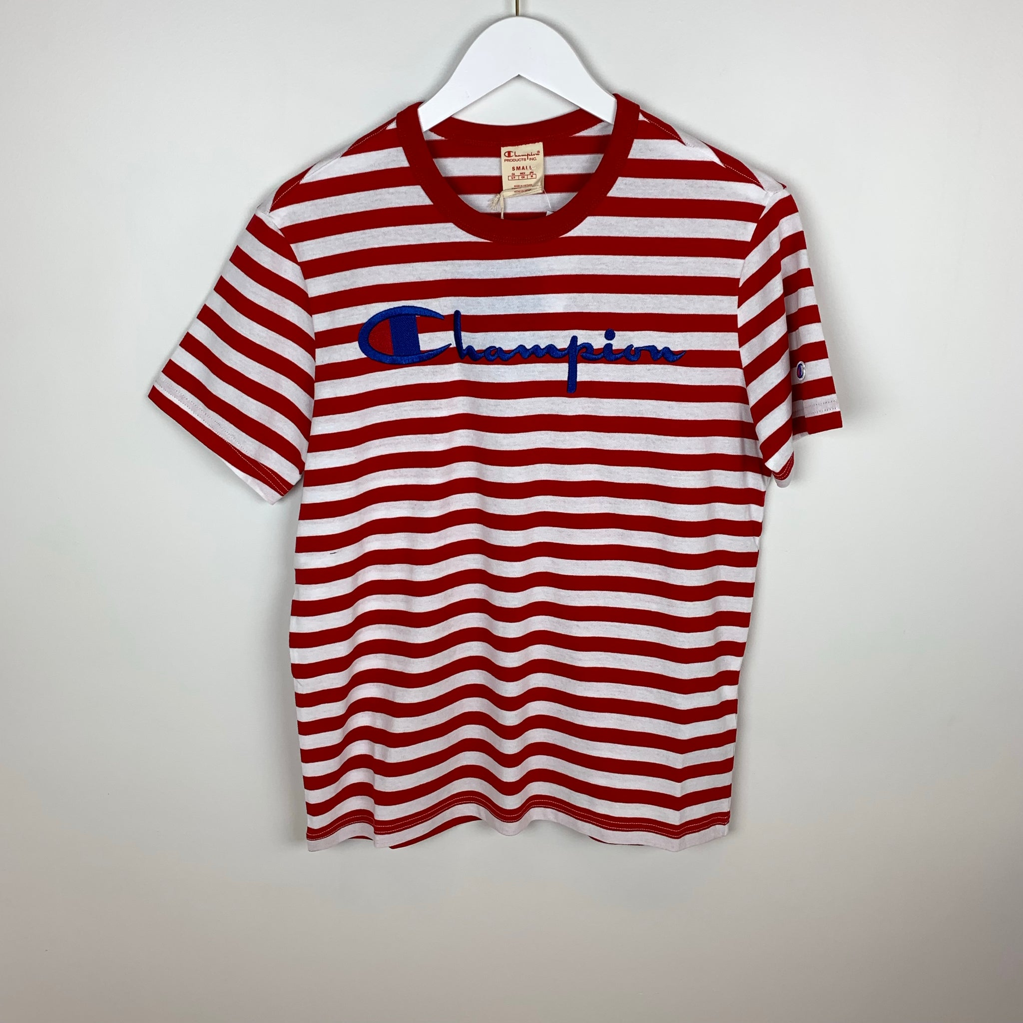 Champion Europe Reverse Weave, Script S/S T-Shirt, Striped, Team Red Scarlet