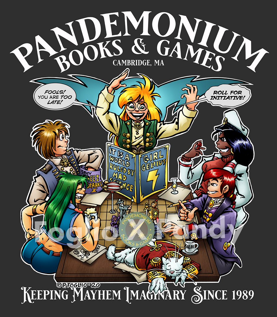 Pandemonium Books and Games text arching over a lively RPG in the Girl Genius Universe by Phil Foglio