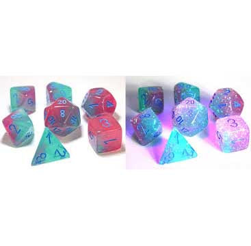 Lab Dice 3: Gemini® Polyhedral Gel Green-Pink with blue font 7 Dice Set [CHX30023]