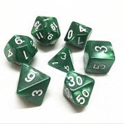 Pearl Green with white font Set of 7 Dice