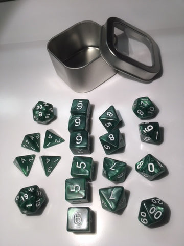 "Pearl Green with white font Set of 20 ""Pandy Dice"""