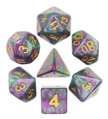 "Hulky ""King Cake"" with gold font Set of 7 Dice"