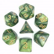 Pearl Grass Green with gold font Set of 7 Dice