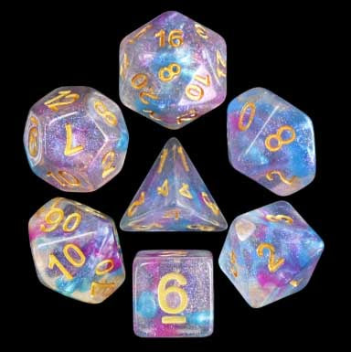 "Iridecent ""Violet Storm"" with gold font Set of 7 Dice"