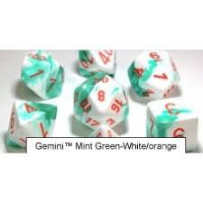 Lab Dice 3: Gemini® Polyhedral Mint Green-White with orange font 7 Dice Set [CHX30020]