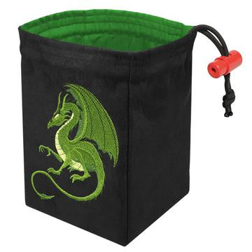 Red King Dice Bag: Suede Fantasy Green Dragon