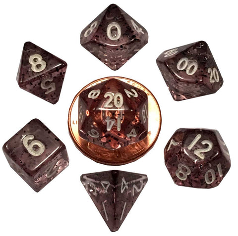 Ethereal Black w white font Set of 7 Mini dice