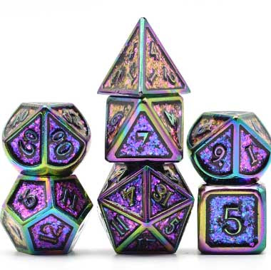 Photosensitive Purple Green w rainbow edges and font metal 7 Dice Set