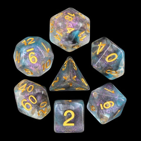 Iridecent Luminous Shade with gold font Set of 7 Dice