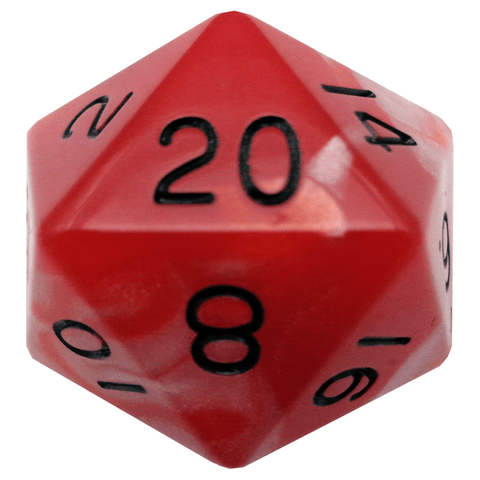 Red/White with Black Numbers 35mm Mega Acrylic 1d20 Die