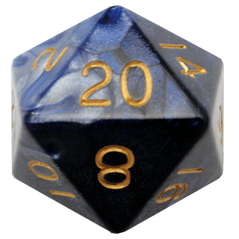 Blue/White with Gold Numbers 35mm Mega Acrylic 1D20 Die