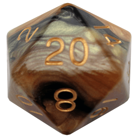 Black/Yellow with Gold Numbers 35mm Mega Acrylic 1d20 Die