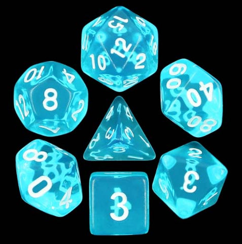 Transparent Blue with white font Set of 7 Dice