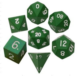 Painted Metal Green with white font 7 Dice Set