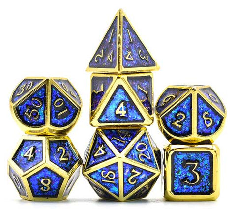 Photosensitive Blue Green w gold edges and font metal 7 Dice Set