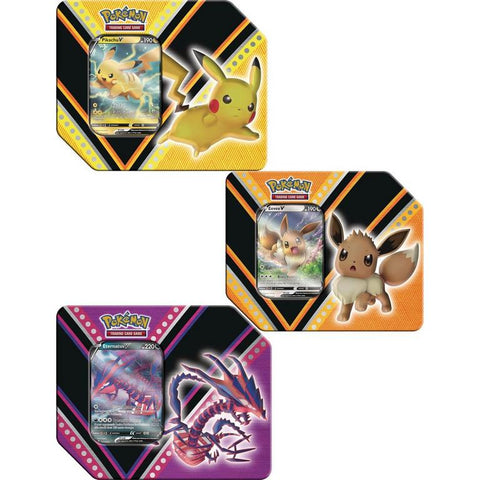 V Powers Tin Pikachu, Evee or Eternatus