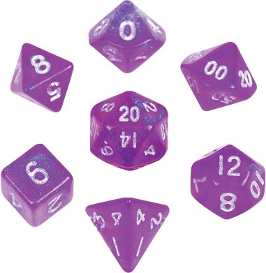 Stardust Purple with silver font 10mm Mini 7 Dice Set
