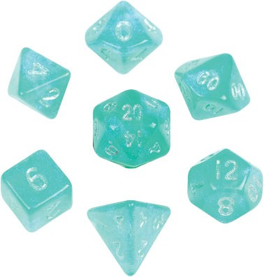 Stardust Turquoise with silver font 10mm Mini 7 Dice Set