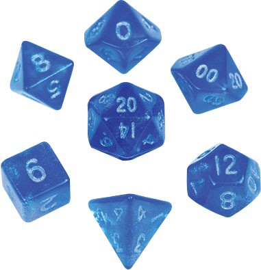 Stardust Blue with silver font 10mm Mini 7 Dice Set