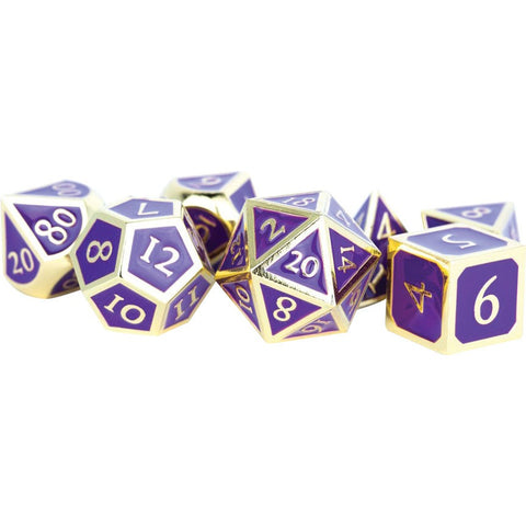 Metallic Purple Enamel with Gold Edges and font 7 Dice Set