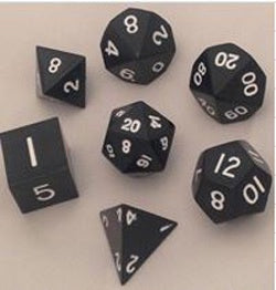 Painted Metal Black with white font 7 Dice Set