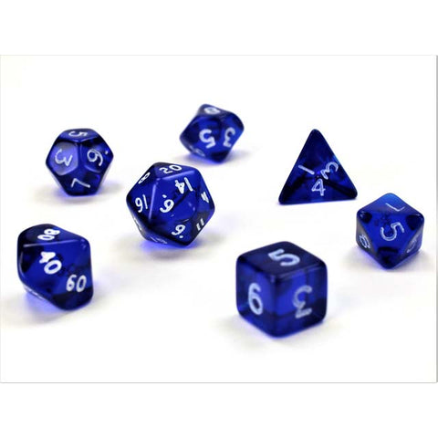 Translucent Mini Blue with white font Set of 7 Dice [CHX23056]
