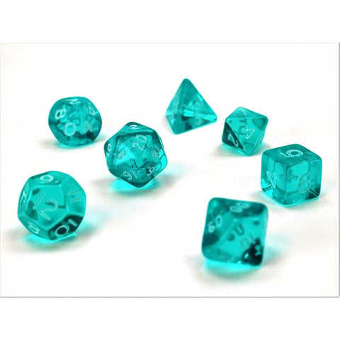 Translucent Mini Teal + white font Set of 7 Dice [CHX23065]