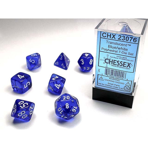 Translucent Blue with white font Set of 7 Dice [CHX23076]