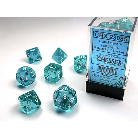 Translucent Teal with white font Set of 7 Dice [CHX23085]