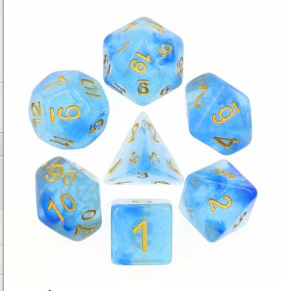 Glitter Blue Transparent with gold font Set of 7 Dice