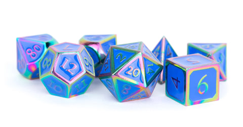 Metallic Blue Enamel with Rainbow Edges and font 7 Dice Set