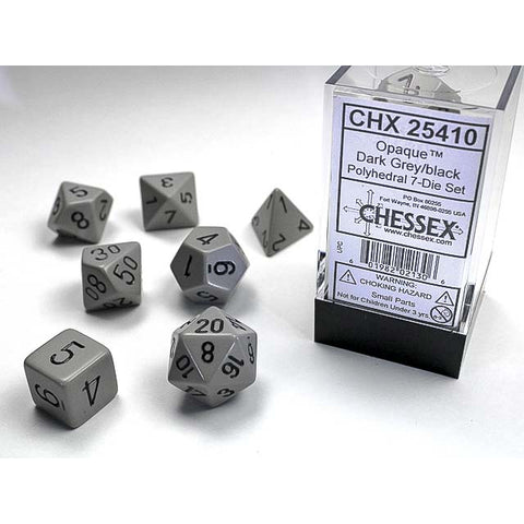 Opaque Dark Grey with black font 7 Dice Set [CHX25410]