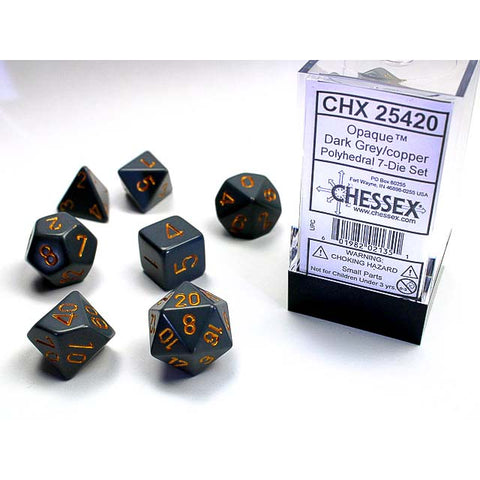 Opaque Dark Grey with copper font 7 Dice Set [CHX25420]