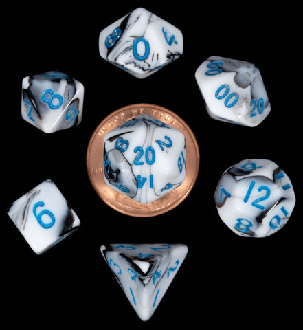 Marble White | Black w blue font Set of 7 Mini dice