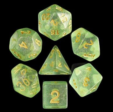 Iridecent Green with gold font Set of 7 Dice