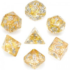 Gold Fragment filled w silver font 7 Dice Set