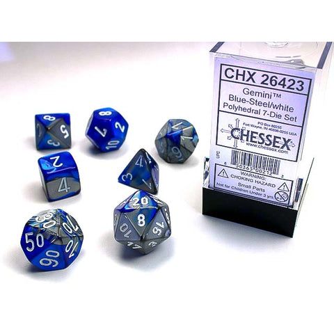 Gemini Blue + Steel with white font 7 Dice Set [CHX26423]