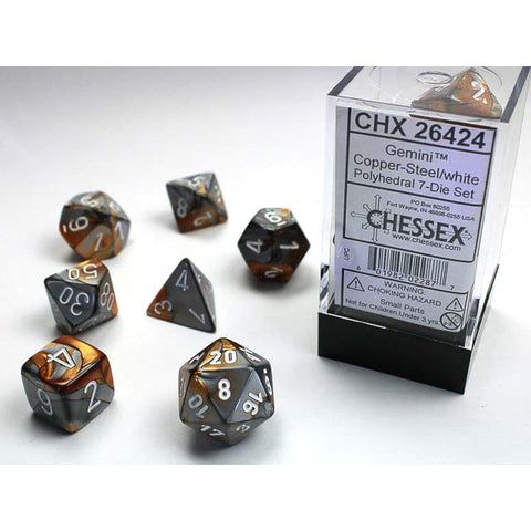 Gemini Copper + Steel with white font 7 Dice Set [CHX26424]