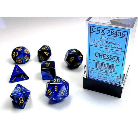 Gemini Black + Blue with gold font 7 Dice Set [CHX26435]