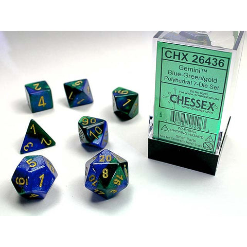 Gemini Blue + Green with gold font 7 Dice Set [CHX26436]