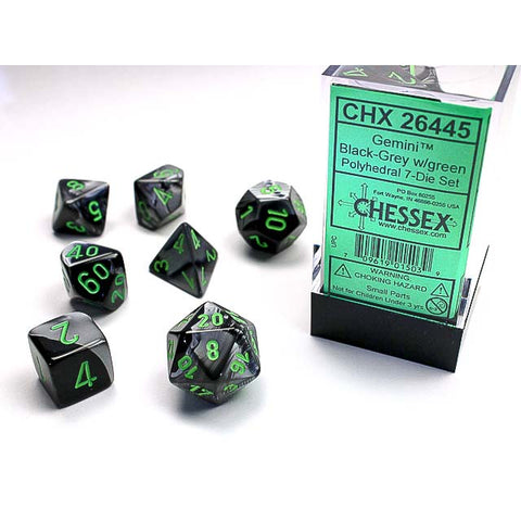 Gemini Black + Grey with green font 7 Dice Set [CHX26445]