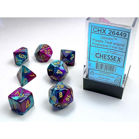 Gemini Purple + Teal with gold font 7 Dice Set [CHX26449]