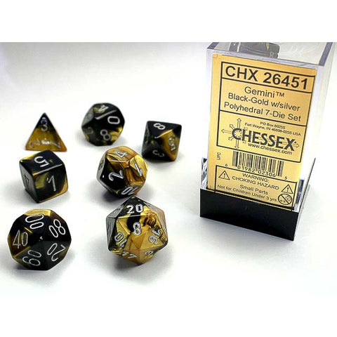 Gemini Black + Gold with silver font 7 Dice Set [CHX26451]