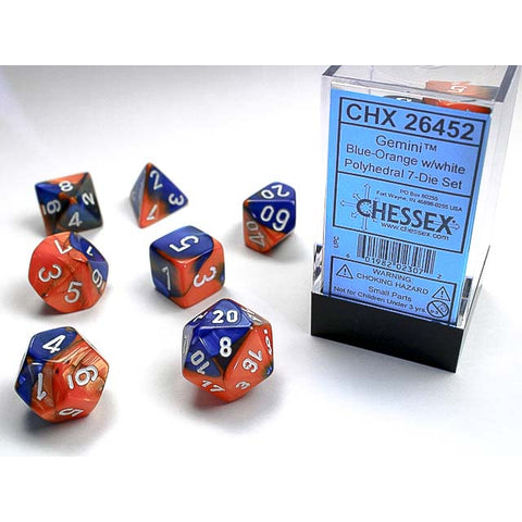 Gemini Blue +Orange with white font 7 Dice Set [CHX26452]