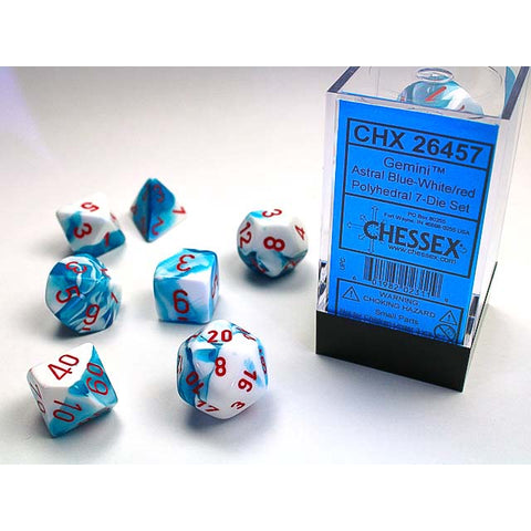 Gemini Astral Blue + White with red font 7 Dice Set [CHX26457]