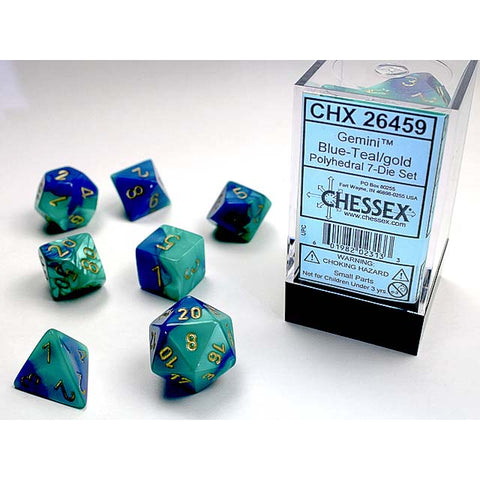 Gemini Blue + Teal with gold font 7 Dice Set [CHX26459]