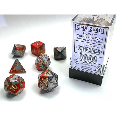 Gemini Orange + Steel with gold font 7 Dice Set [CHX26461]