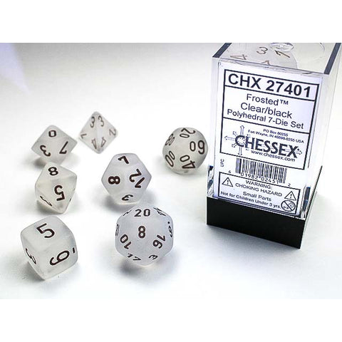 Frosted Clear with black font 7 Dice Set [CHX27401]