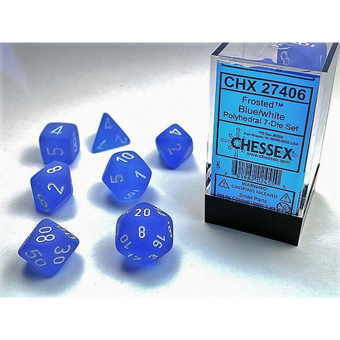 Frosted Blue with white font 7 Dice Set [CHX27406]