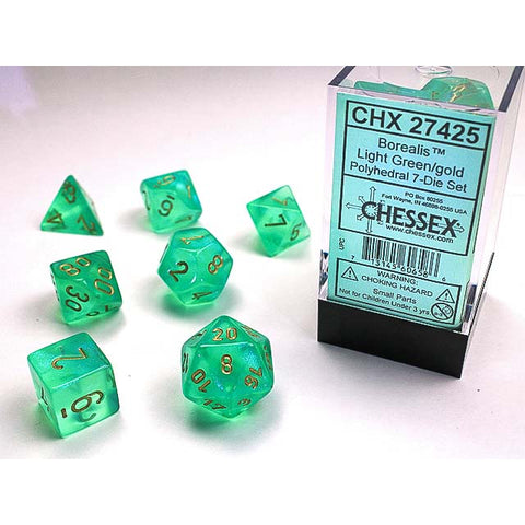 Borealis #2 Light Green with gold 7 Dice Set [CHX27425]